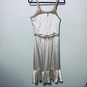 Badgley Mishka champagne silk beaded dress size 6